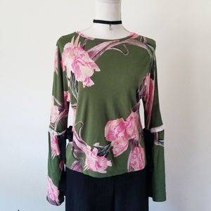 TOPSHOP Green Pink Floral Bell Sleeve Top 4 US